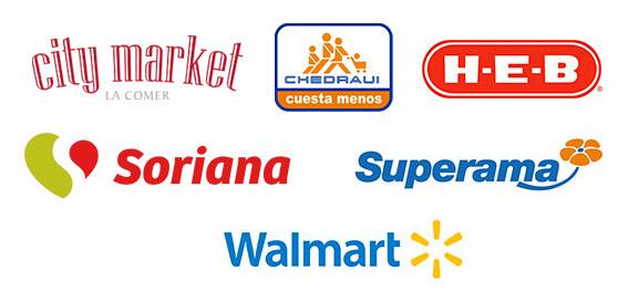 Walmart, Superama, HEB, City Market, Chedraui, Soriana